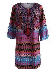 Tassel V Neck Mini Tribal Print Dress