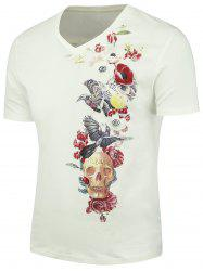Short Sleeve Skull Floral Printed T-shirt
