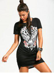 Lace Up Front Ruched Punk Print Dress