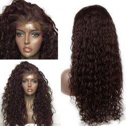 Long Dyed Perm Deep Side Part Water Wave Lace Front Human Hair Wig - BROWN