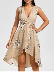 Floral Sleeveless High Low Dress