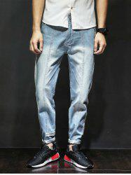 Selvedge Embellished Panel Zipper Fly Harem Jeans