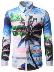 Hidden Button Coconut Tree Print Shirt - COLORMIX M