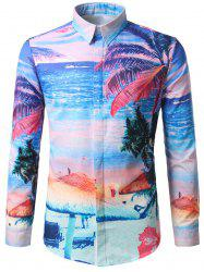 Hidden Button Beach Printed Hawaiian Shirt
