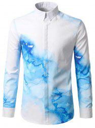 Ink Printed Hidden Button Shirt - WHITE L