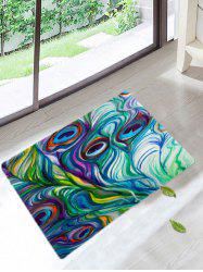 Peacock Feathers Skidproof Coral Fleece Bath Rug - COLORFUL
