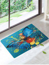 Coral Fleece Ink Splash Butterfly Bath Rug