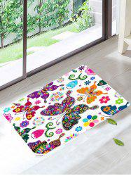 Colorful Butterfly Water Absorbent Bathroom Rug