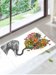Elephant Floral Floor Soft Absorbent Bath Rug
