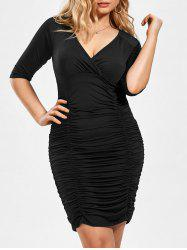 Plus Size V Neck Ruched Bodycon Dress