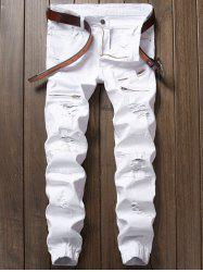 Distressed Zipper Fly Panel Design Beam Feet Jeans - WHITE
