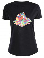 Short Sleeve Cube Print Graphic T Shirt