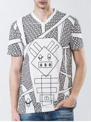 Short Sleeve Geometric Print Panel Novelty T-shirt