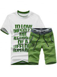Short Sleeve Graphic Print Sport T-shirt and Shorts Twinset - GREEN 2XL