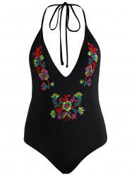 Halter Embroidered Backless Plus Size Swimsuit