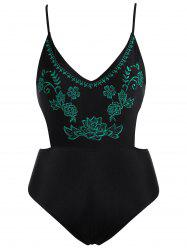 Embroidered High Waisted Swimsuit