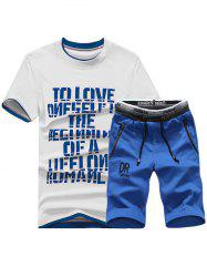Short Sleeve Graphic Print Sport T-shirt and Shorts Twinset - DEEP BLUE XL