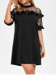 Mesh Trim Embroidered Plus Size Mini Dress