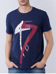 Short Sleeve Number and Graphic Print T-shirt - DEEP BLUE L