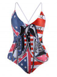 Cross Back American Flag Plus Size Swimwear