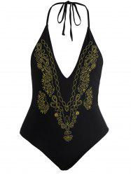 Halter Embroidered Plus Size Swimsuit