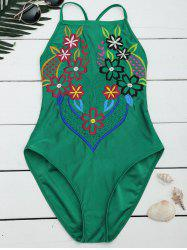 Cross Back Lace Up Embroidered Swimsuit
