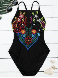 Embroidered Cross Back Floral Swimsuit - BLACK