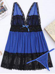 Lace Plus Size Mesh Cami Sleep Dress - Bleu