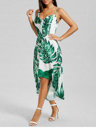 Palm Leaf Print High Low Dress
