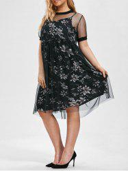 Plus Size Floral Cami Dress and Sheer T-shirt Dress with Belt