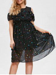 Plus Size Stars Printed Cold Shoulder Midi Ruffle Dress