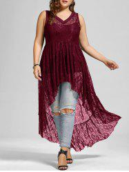 See Through Lace High Low Plus Size Top