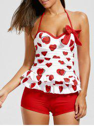 Sweetheart Tiered Skirted Tankini Set - RED XL