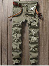 Distressed Zipper Fly Panel Design Beam Feet Jeans - ARMY GREEN
