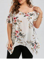 Plus Size Dew Shoulder Floral Blouse