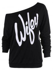 Sexy Letter Printed Slash Neck Pullover Sweatshirt For Women - BLACK
