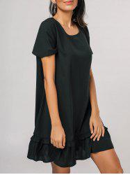 Flounces Casual Short Sleeve Mini Dress -