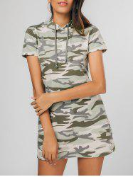 Camouflage Hooded Casual Mini Dress -
