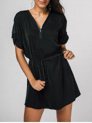 Rolled Sleeves Zipped Mini Dress -