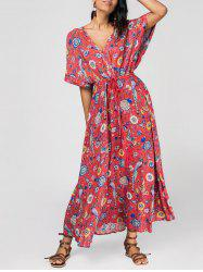 Drawstring Plunging Neck Patterned Tied Maxi Dress -