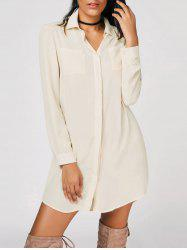 Button Up Casual Shirt Mini Dress -