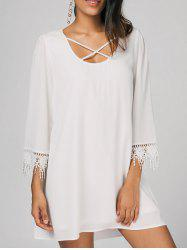 Crochet Panel Criss Cross Casual Dress -