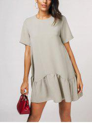 Ruffle Hem Shift Dress -