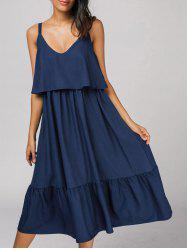 Flounces Back Zipper Casual Midi Dress - DEEP BLUE S