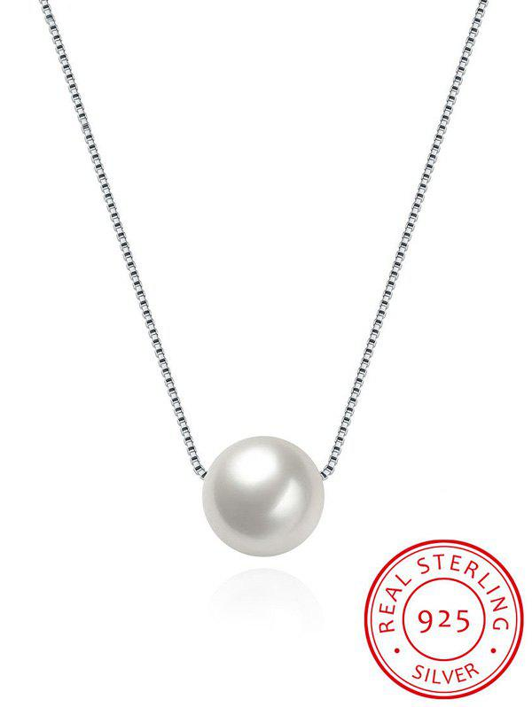 Faux Pearl Silver Collarbone NecklaceJEWELRY<br><br>Color: SILVER; Item Type: Pendant Necklace; Gender: For Women; Metal Type: Silver; Style: Noble and Elegant; Shape/Pattern: Solid; Length: 42CM; Weight: 0.0300kg; Package Contents: 1 x Necklace;