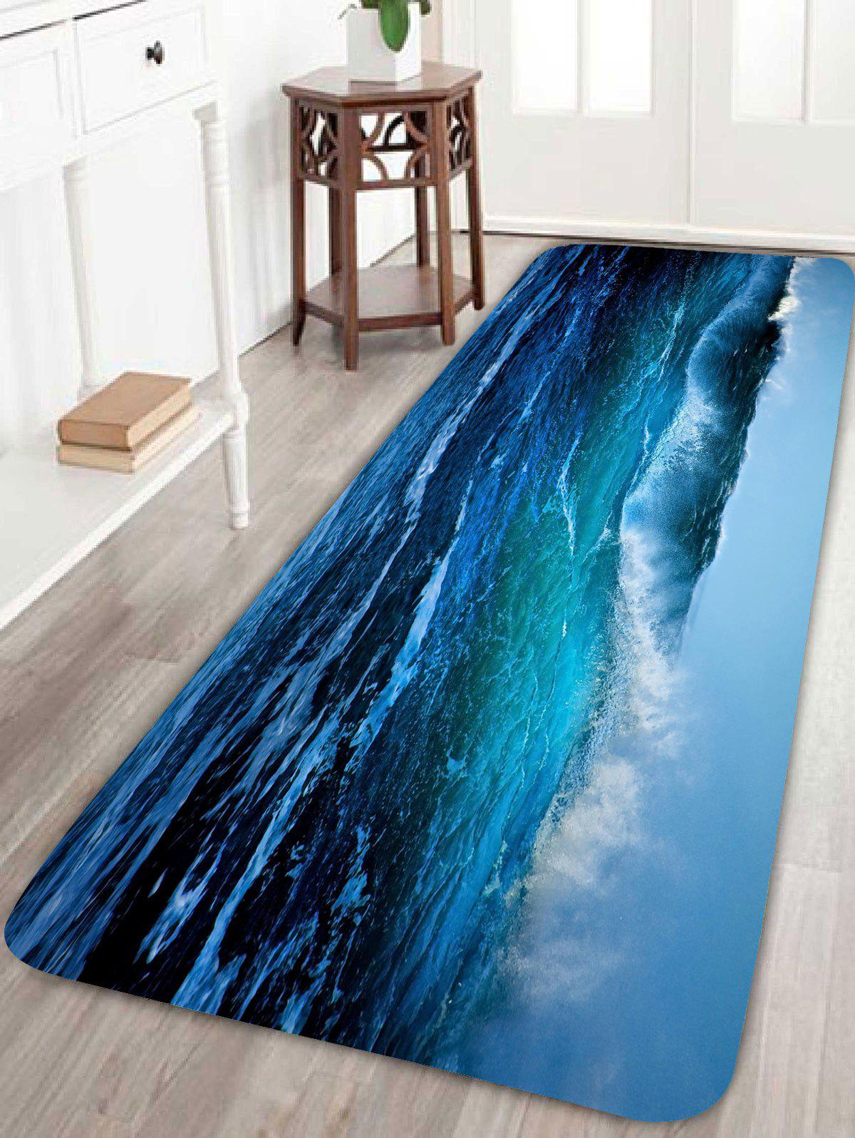 Sea Wave Skidproof Bathroom RugHOME<br><br>Size: W16 INCH * L47 INCH; Color: LIGHT BLUE; Products Type: Bath rugs; Materials: Coral FLeece; Pattern: Print; Style: Beach Style; Shape: Rectangle; Package Contents: 1 x Rug;