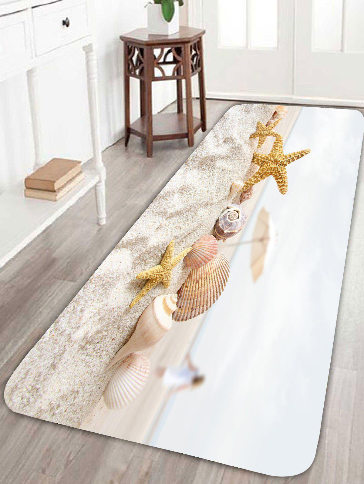 Beach Conch Starfish Umbrella Print Bath RugHOME<br><br>Size: W16 INCH * L47 INCH; Color: COLORFUL; Products Type: Bath rugs; Materials: Coral FLeece; Pattern: Print; Style: Beach Style; Shape: Rectangle; Package Contents: 1 x Rug;