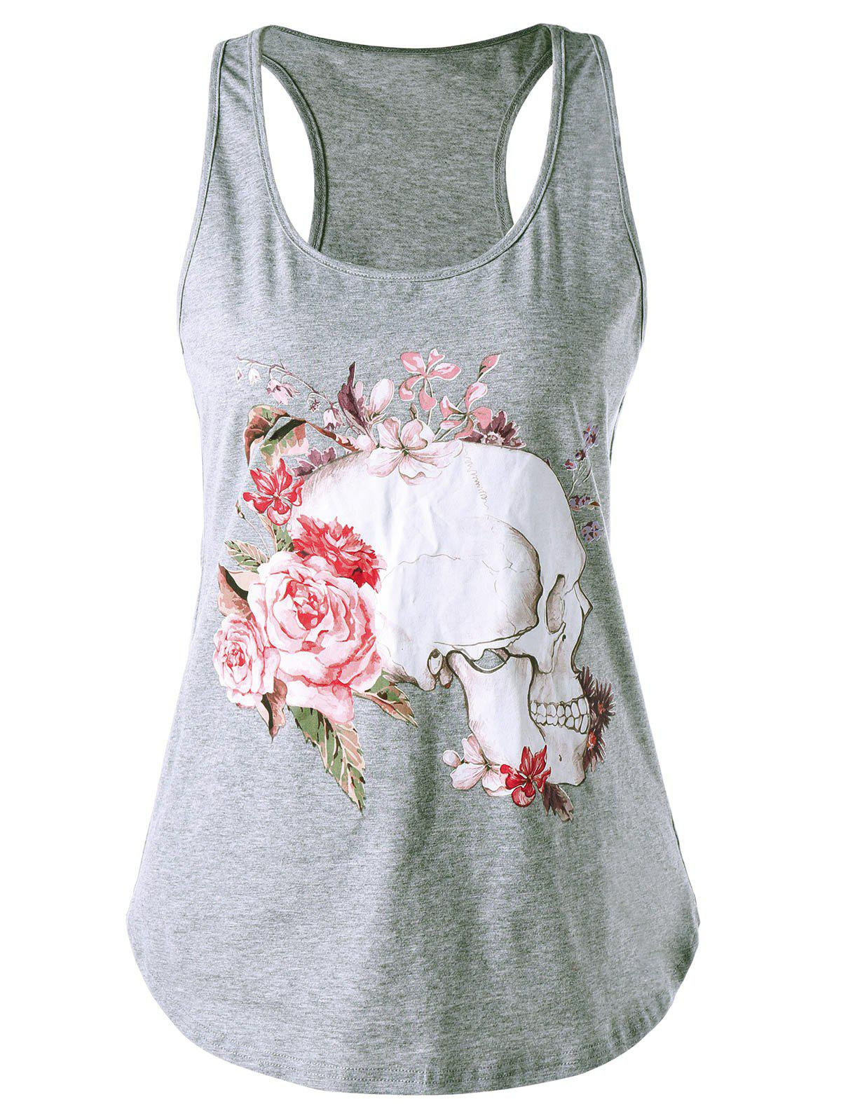 Skull Print Racerback Tank TopWOMEN<br><br>Size: XL; Color: GRAY; Material: Rayon,Spandex; Shirt Length: Regular; Pattern Type: Floral,Skulls; Style: Casual; Weight: 0.1800kg; Package Contents: 1 x Tank Top;