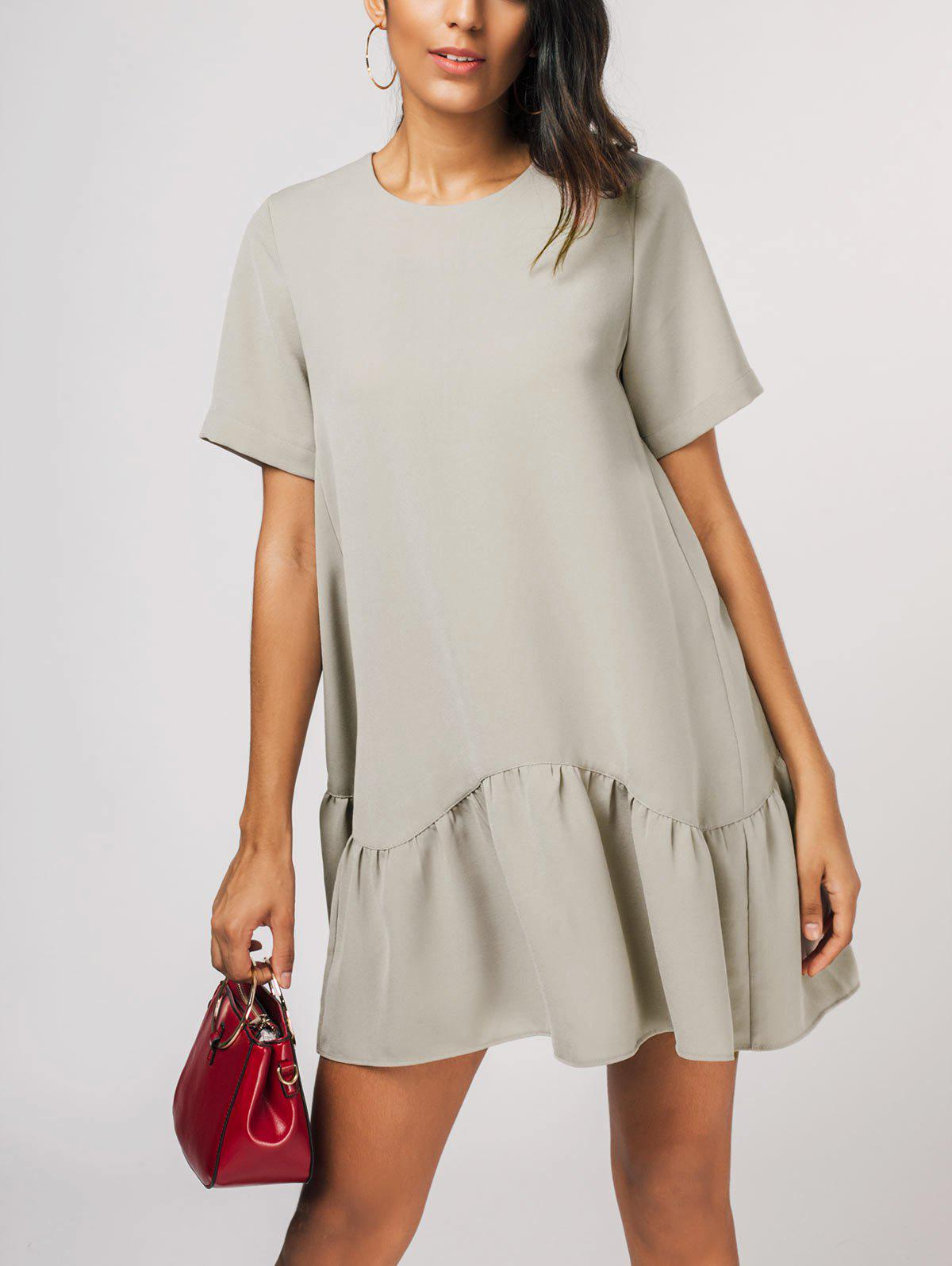 Unique Ruffle Hem Shift Dress