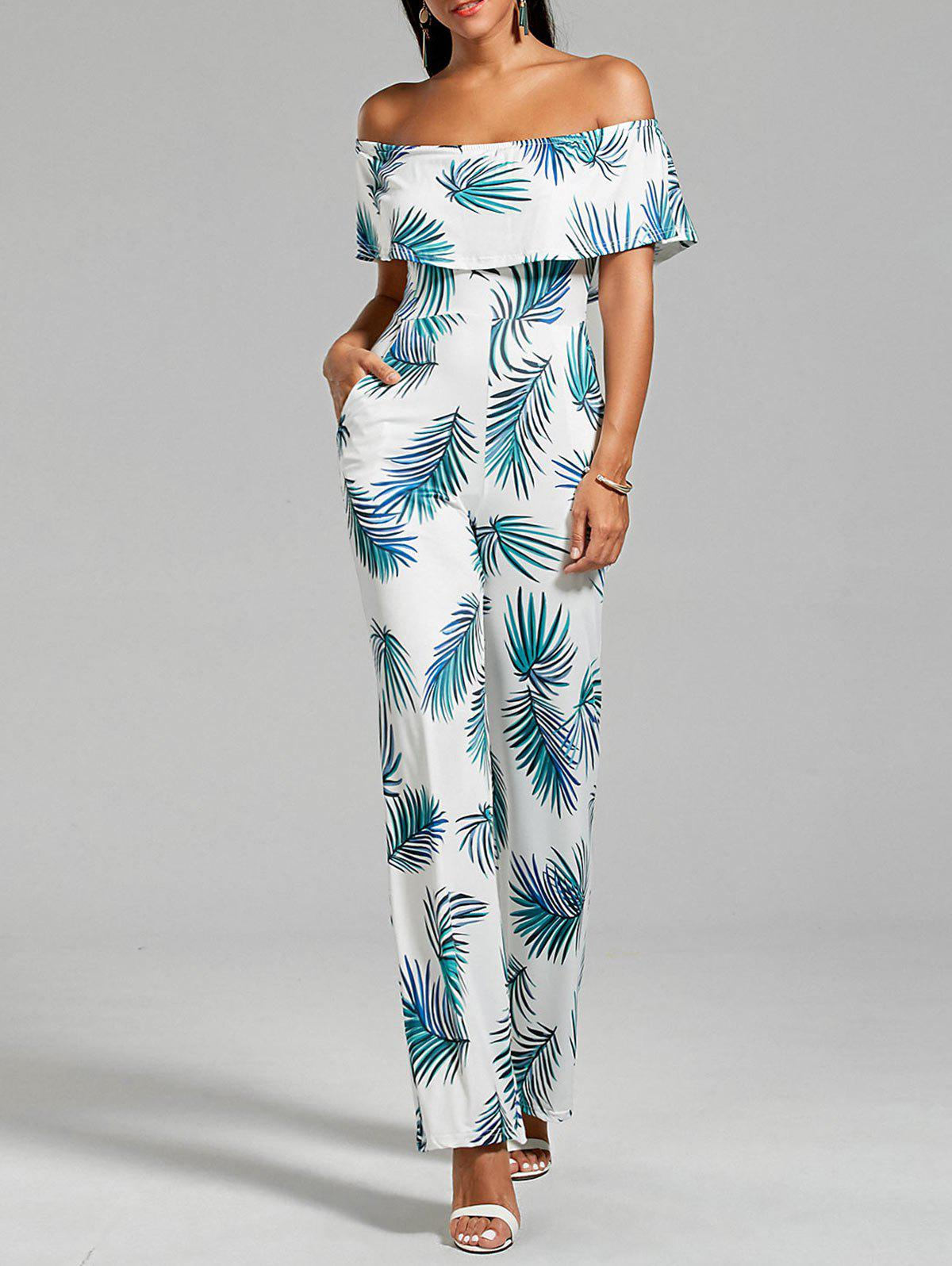 Shop Flounce Leaf Printed Jumpsuit with Pockets